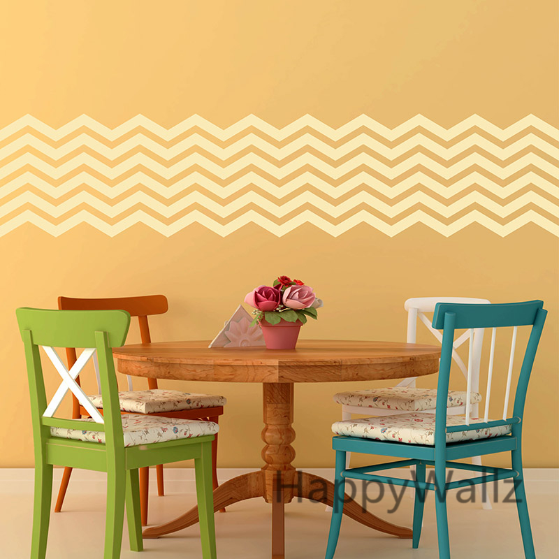 DIY Chevron Stripes Wall Sticker Chevron Wall Decals ...