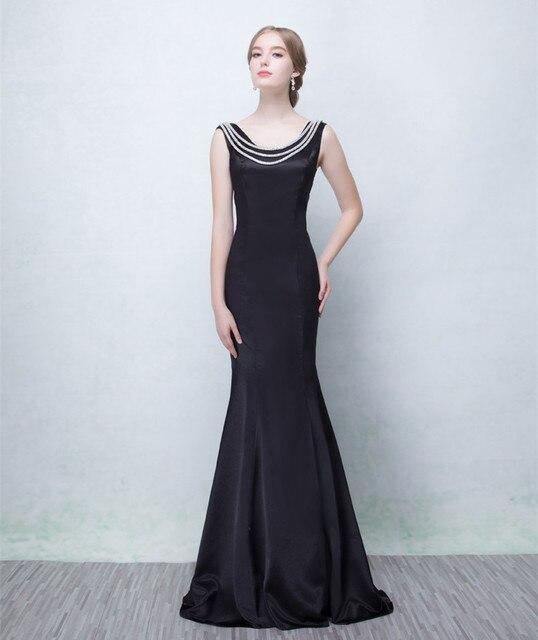 2016 new design custom soft black satin evening dress /zipper/floor ...