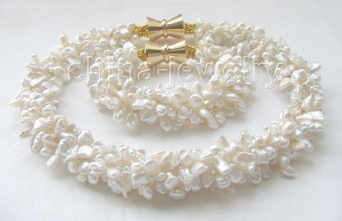 18 & 8 5row 8mm white baroque keshi reborn freshwater pearl necklace &bracelet