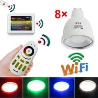 8x Mi Light 4W GU10 RGBW RGB White LED Spotlight Light Lamp 1x Touch Remote 1x