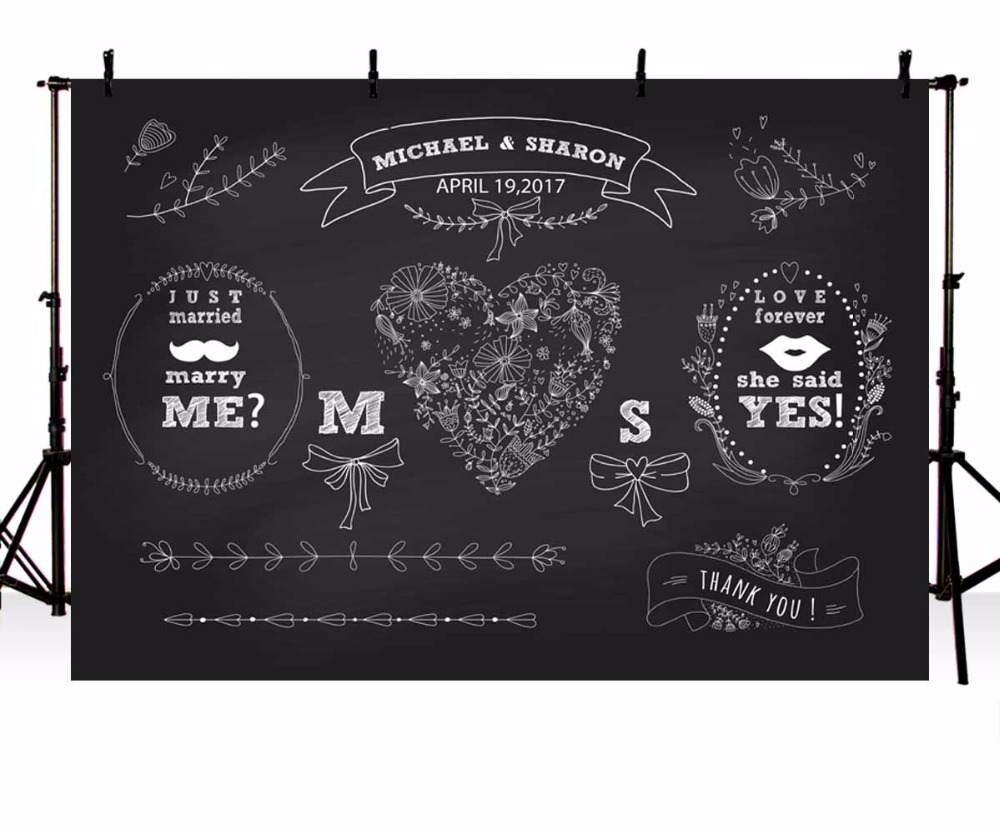 Custom Vinyl Photography Backdrop Blackboard Illustration Customized DIY Wedding Backgrounds for Photo Studio G-112 200 300cm 6 5 10ft studio backdrop for alentine s day vinyl custom photography letter combinations romantic colorful for youth