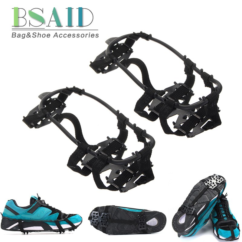 BSAID 1 Pair Anti-slip Ice Gripper 12-Teeth Spikes For Shoes Slip Snow Ice Grips Crampon Climbing Boots Crampons Ice Floes Sport 1 pair ice gripper slipproof strong ice crampons skiing crampons shoes snow walker for snow mountain climbing walking bag