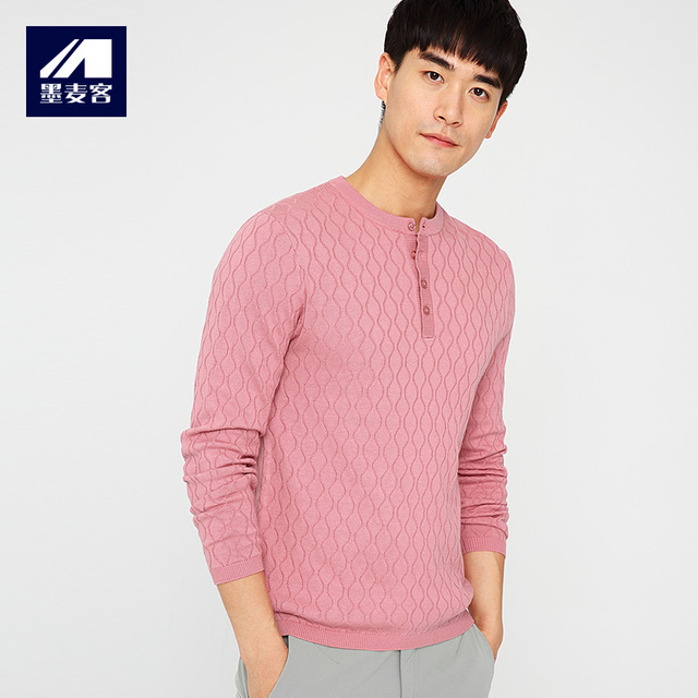 b57ce3913f0 Size M-3XL Mmaicco Men Pink Pullover Knitted Sweater for Men Long Sleeve  Geometric Cotton Male Casual Round Collar Daily Top