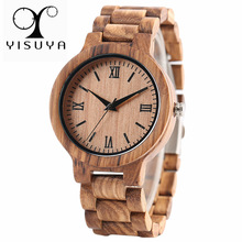 YISUYA Nature Wood Bamboo Watch Ерлер қолмен жұмыс Full Wooden Creative Women Watches 2018 Жаңа сән Quartz Clock Christmas Gift