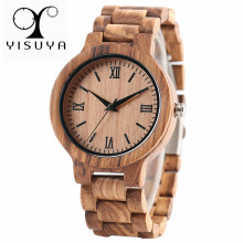 YISUYA Nature Wood Bamboo Watch Men Handmade Full Wooden Creative Women Watches New Fashion Quartz Clock Christmas Gift genuine leather band hot nature wood wrist watch men cool gift quartz women creative watches deer head bamboo fashion simple