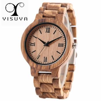 YISUYA Nature Wood Bamboo Watch Men Handmade Full Wooden Creative Women Watches New Fashion Quartz Clock Christmas Gift