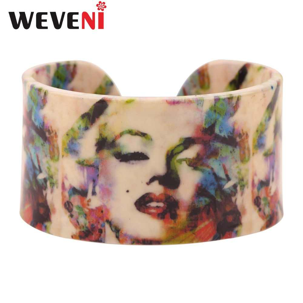 WEVENI Acrylic Design Sexy Marilyn Monroe Printing Love Wide Bracelets Bangles Jewelry For Women New Charm Manchette Bijoux