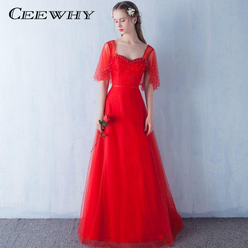 CEEWHY a-ligne volants manches Tulle perles Robe De soirée rouge robes de bal Robe De soirée formelle Robe de soirée Vestidos De Festa