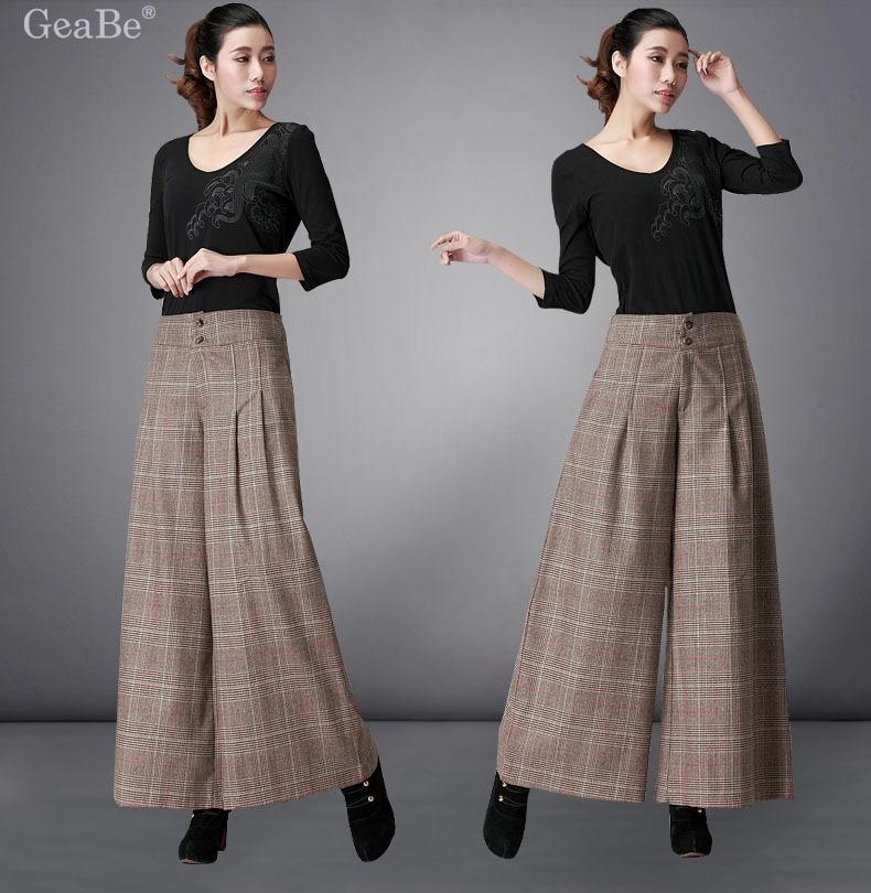 Winter Womens Woolen Wide Leg Pants Trousers Plus Size Women