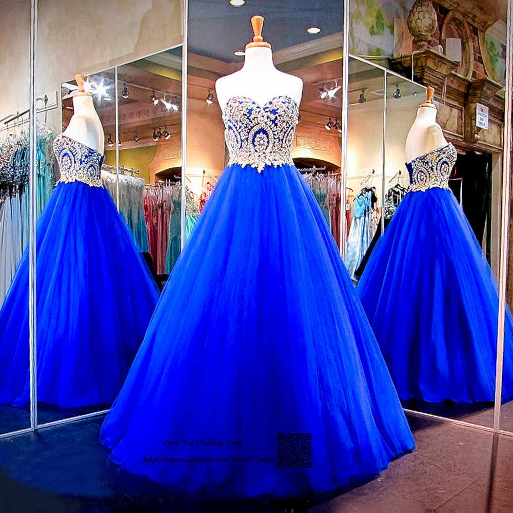 Modest Azul Royal Ouro Lace Baratos Vestidos Quinceanera vestido de Baile Plus Size Vestido do Baile de finalistas 2017 Vestidos de Marmelo Anos de Formatura