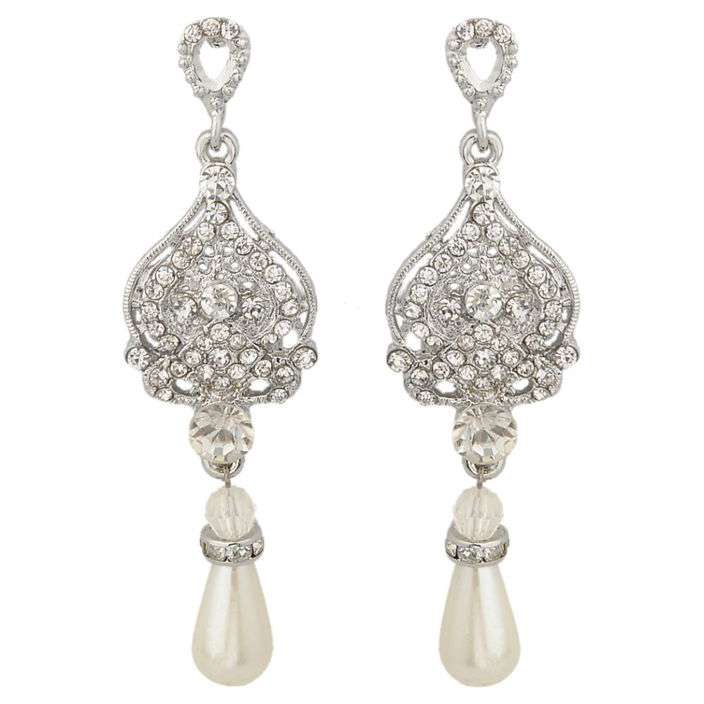 Bella Clear Austrian Crystal Tear Drop Bridal Earrings Simulated Ivory  Pearls Dangle Earrings For Valentine Gift