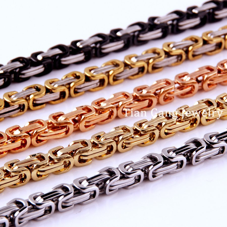 7~40 4/5/8mm Silver/Gold/Black/Rose Gold Tone Choose 316L Stainless Steel Byzantine Box Chain Mens Women Necklace or Bracelet