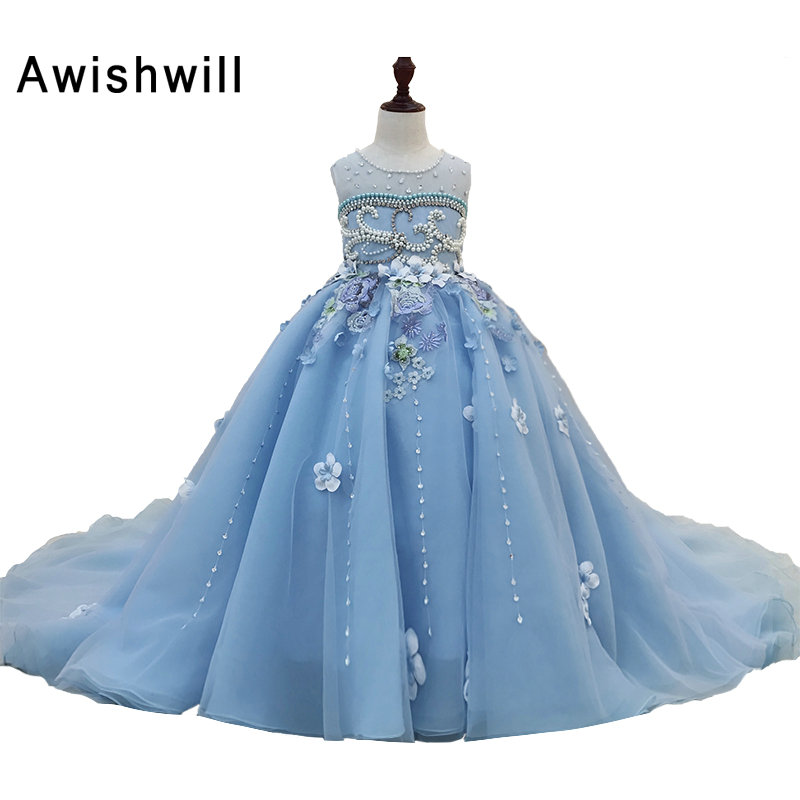 Custom Made Flower Girl Dress for Wedding Beaded Flowers Embellishment Organza Ball Gown Party Pageant Dresses For Girls