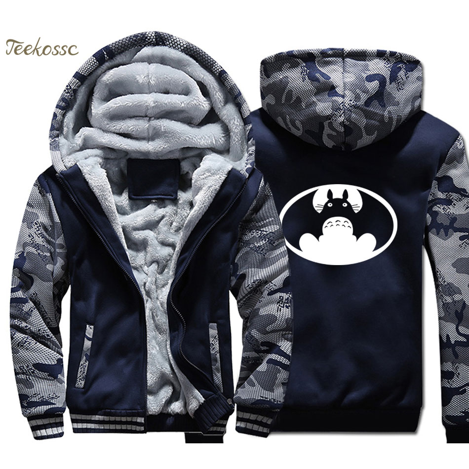 Japanese Anime Totoro VS Batman Hoodie Men Funny Hooded Sweatshirt Coat Winter Warm Fleece Thick High Quality Super Hero Jacket