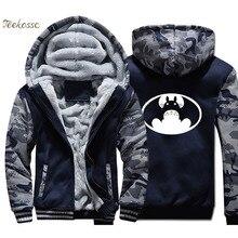 Japanese Anime Totoro VS Batman Hoodie Men Funny Hooded Sweatshirt Coat Winter Warm Fleece Thick High Quality Super Hero Jacket