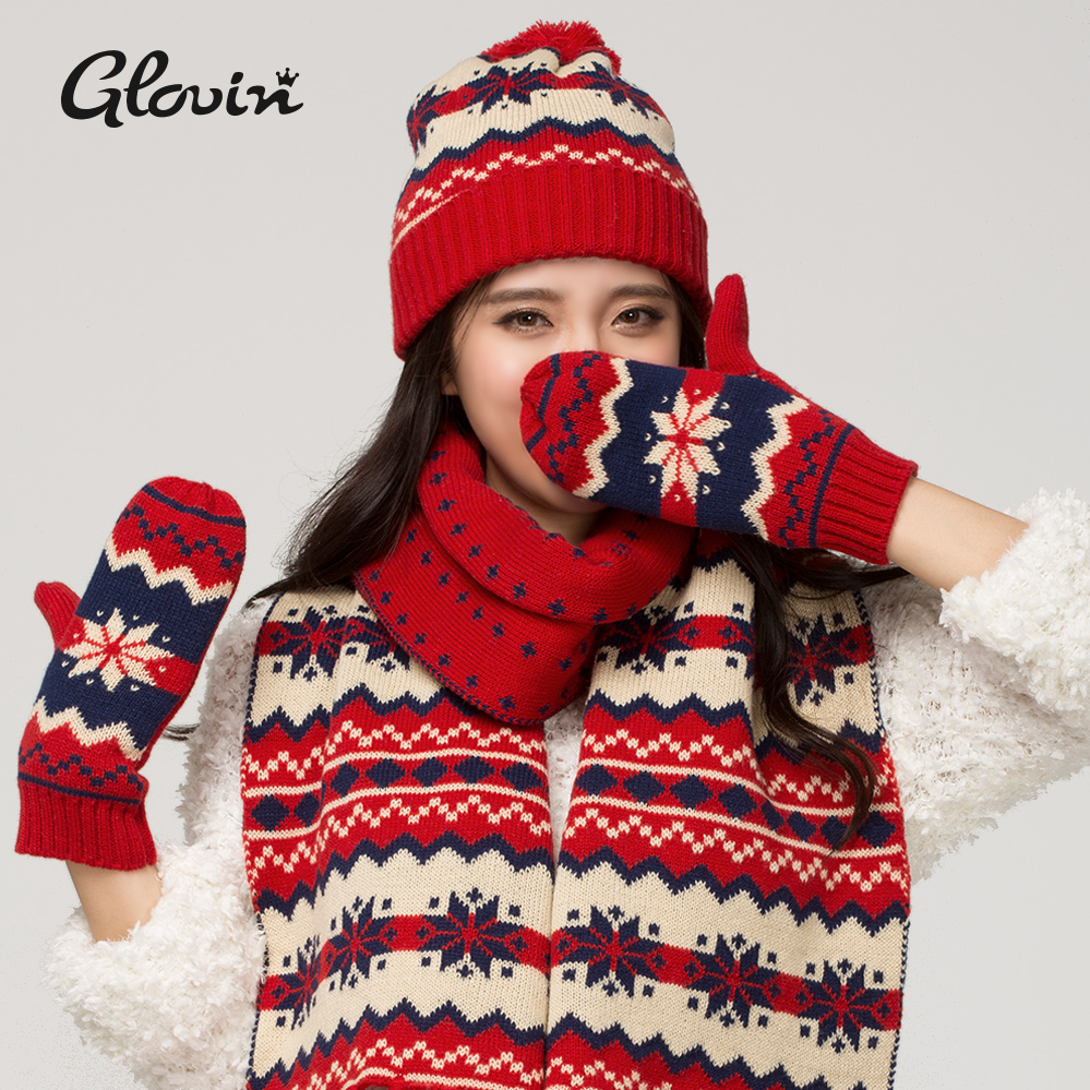 WINTER FASHION DESIGN KNITTED HAT AND GLOVES SET