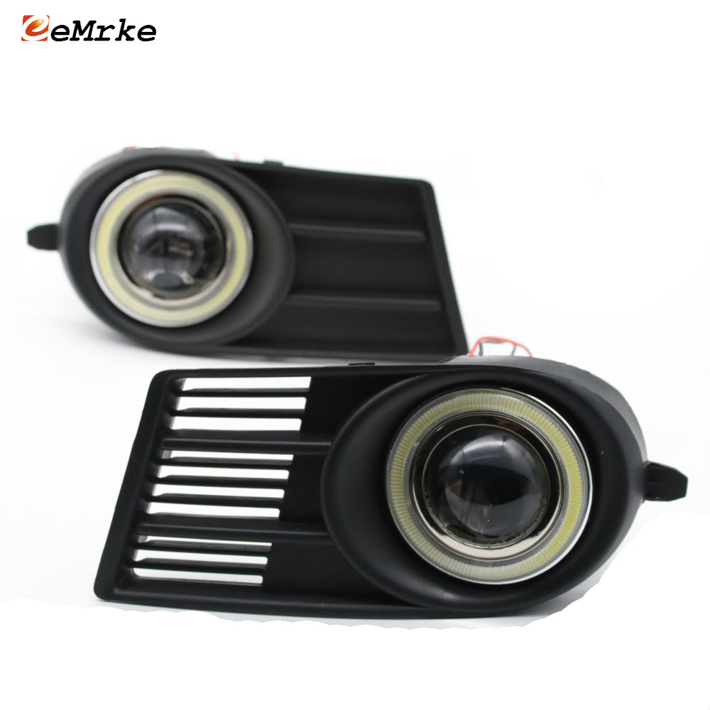 For <font><b>Suzuki</b></font> <font><b>Swift</b></font> <font><b>2006</b></font> To 2009 LED COB Angel Eyes DRL Yellow Signal Light H11 Halogen / Xenon Fog Lights with Projector Lens image
