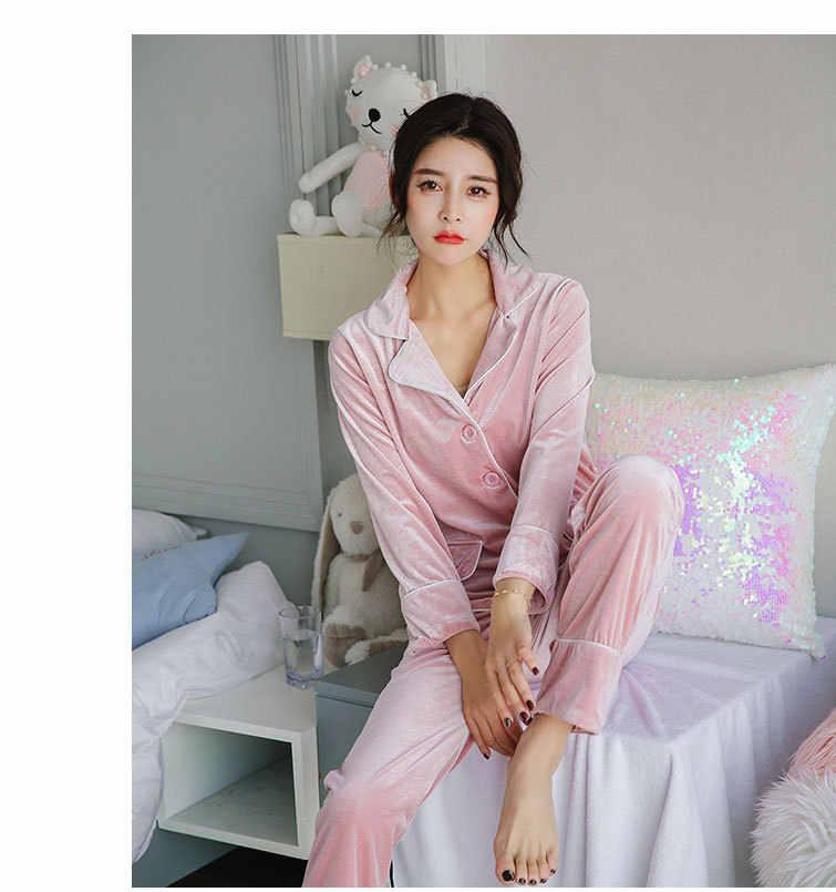 1aa1ae4e053 ... Fdfklak Gold Velvet Soft Pajamas Set Women Long Sleeve Autumn Winter  Sleepwear Pyjamas Women Warm Two