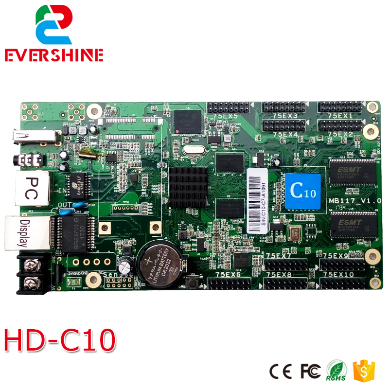 2018 New C10 HD-C10-C Full color RGB LED Display Control card Asynchronous core controller c10-c with 10xHUB75 port diy p3 led display screen smd indoor full color module 10pcs 1 pcs control card c10 cl power supply 2pcs p3 rgb led sign