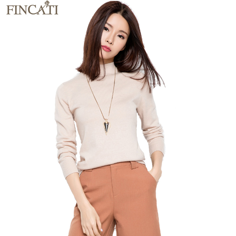 Women Autumn Winter Half Turtleneck Cashmere Blend Knitted Pullover Multi Colors Knitwear Thin Sweaters All-Match Jersey