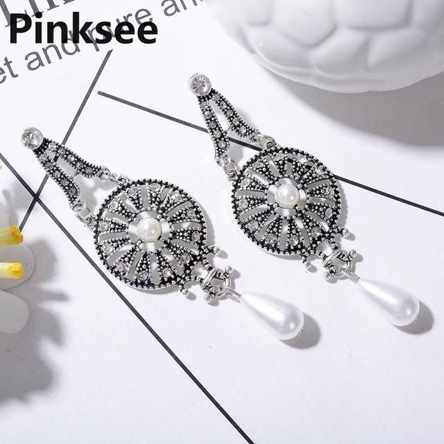 149a9d0b6 Boho Hollow out Vintage Leaf Feather Dangle Earrings For Women Bohemia  Style Irregular Crystal Earring Ethnic Pearl Jewelry
