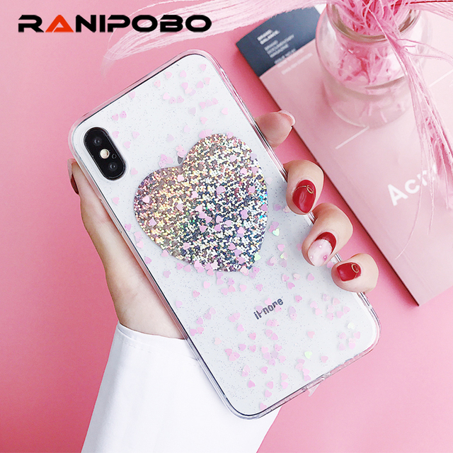 new style 23cb4 22b27 US $2.39 20% OFF|Ranipobo For iPhone 6 6S 7 8 Plus X Glitter Powder LOVE  Heart Back Cover Soft TPU Shiny Sequins Phone Cases Back Cover Coque -in ...
