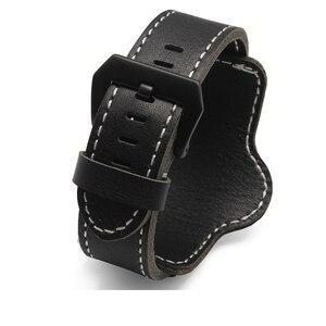 Image 2 - 20mm 22mm 24mm 26mm Quality Cuff Bracelet Strap Leather Watchband  Black/Brown Decorative Style Belt For Mens