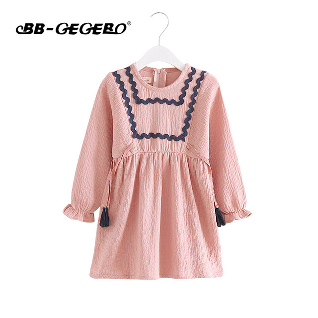 Fashion Baby Girls Dress 2018 Brand Princess Dress Autumn Style Long Sleeve Striped Design for Children Clothes