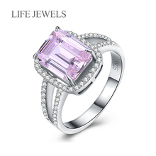 uthentic 100% 925 Sterling Silver Pink Zircon Square Rings Charm l Women Luxury Valentines Day Gift Jewelry