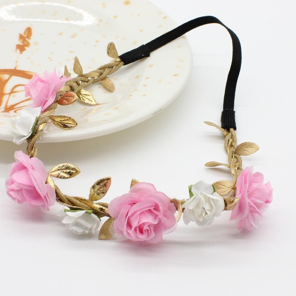 3 5 Black Flower Hair Clip With Flower Center: Pink Floral Crown Headband Girls Rose Flower Crown Wedding