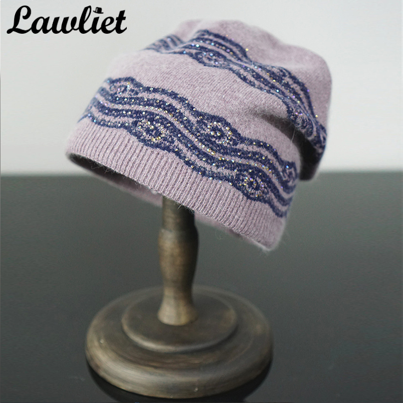 Winter Hat in Women Beanies Lace Flower Trim Rhinestone Warm Girl Ladies Knitted Hat Double Layer Fur Soft Wool Skullies Cap animal printing new plus side men and women with the double layer of warm ladies pile heap cap skullies hat knitted hat stripe