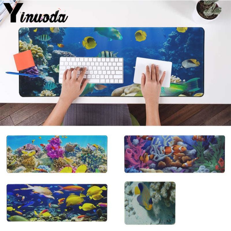 Yinuoda Fishes cute Marine life ocean Office Mice Gamer Soft Mouse Pad Size for 30x90cm and 40x90cm Gaming Mousepads