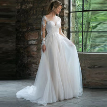 Elegant Wedding Dress Sheer Long Sleeves Robe de mariee Vintage Lace Tulle Bridal Plus Size Gown