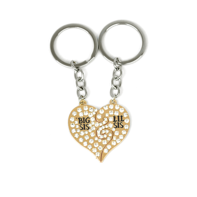 New Best Friends BBF Keychains For Girls Crystal Heart Shaped Big Sis Little Lil Sis Key Ring Family Jewelry For Sisters gifts