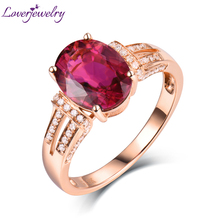 Oval Natural Pink Tourmaline Engagement Rings Solid 14Kt Rose Gold Stunning Diamond Jewelry Wholesale for Women Thanksgiving