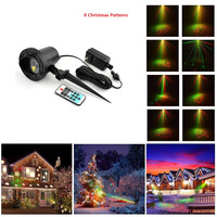 Red Green 8 Xmas Patterns Remote Outdoor Waterproof Laser Projector Garden Holiday Christmas Tree RG Landscape