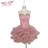 AnXin SH hồng beading evening dresses ngắn công chúa lông buổi tối dresses, chị em sinh nhật cho thấy little white dresses