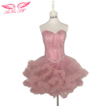 hot deal buy anxin sh pink beading evening dresses short princess feathers evening dresses, sisters birthday shows little white dresses