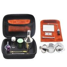 HORNET conjunto de fumador bolsa de cuero PU Sniffer Snorter kit humo de vidrio píldora botella de Metal tarro para alijo tabaco hierba amoladora cuchara de rapé