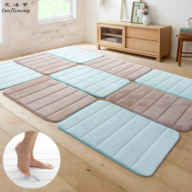 Minimalist Solid 40*60cm Microfiber Foam Memory Mat On the Floor Bath Kitchen Door Entrance Carpet Tapete