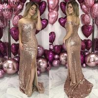 New Boat Neck Off The Shoulder Sequins Pleated Floor Length Rose Gold Golden pink Bridesmaid Dresses Vestidos De Fiesta De Noche