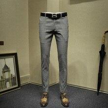 Мужская одежда брюки формальные Бизнес slim fit мода уличная костюм в черно-белую клетку Брюки Свадьба жениха одежда подарок на день отца 36