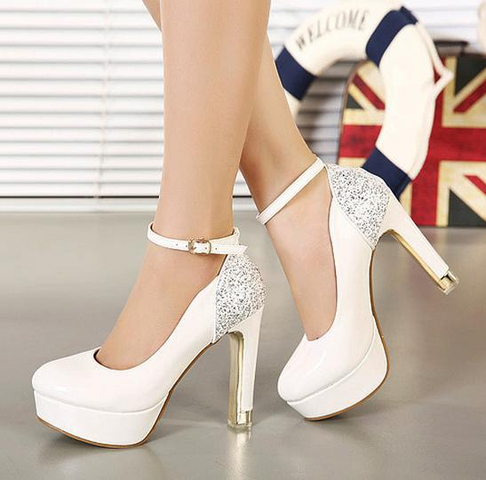 Glitter Ankle Strap White Heels Sexy Wedding Bride Shoes Comfortable