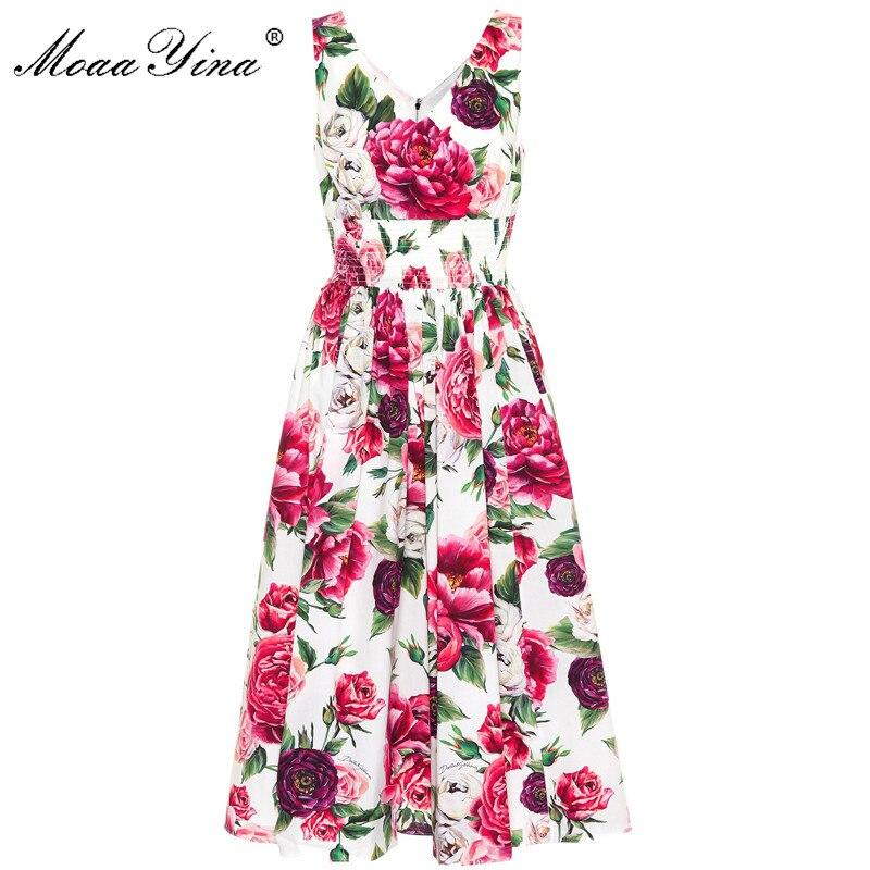 MoaaYina Fashion Designer Runway Dress Summer Women backless Sleeveless Rose Floral Print Elastic waist Holiday Elegant