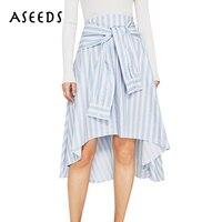 2017 Nouvelle Mode bleu Rayé longue jupe femmes conception arc cravate Taille Haute jupes D'été Élégant office lady midi jupe faldas