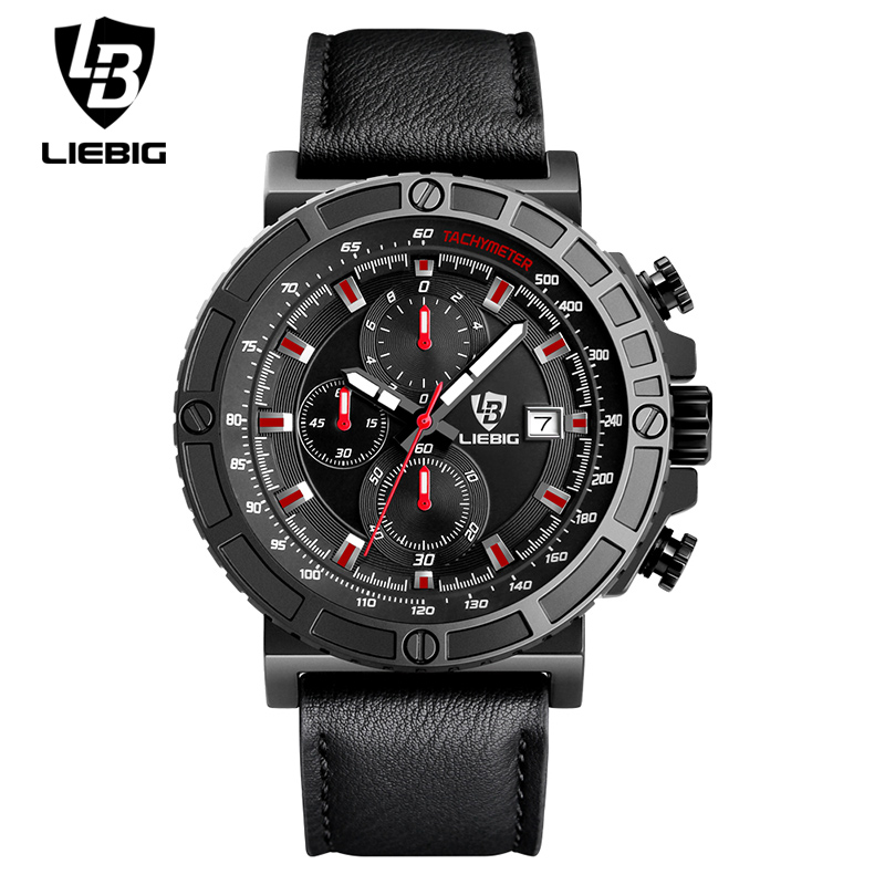 futuristic mens watches promotion shop for promotional futuristic liebig 1015 men quartz outdoor sport wristwatches auto date leather strap clock 50m waterproof fashion watches relogio masculino