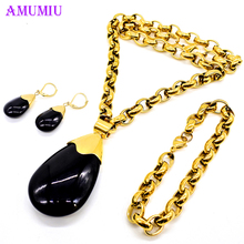 AMUMIU Water Drop Wedding Jewelry Sets inlay Luxury Crystal Bridal Jewelry Set Gifts necklace earrings Elegant Party gold JS056A