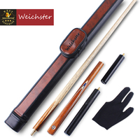 Weichster 3/4 Jointed Handmade Snooker Cue Pool Ash Shaft Black Walnut Wood with Cue Case Extension Glove