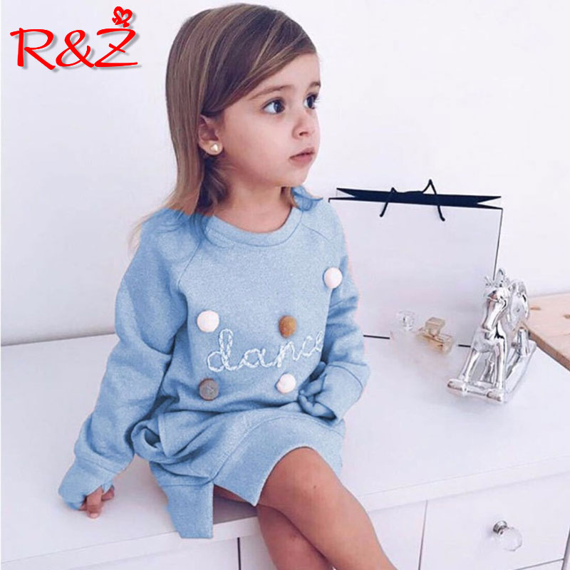 R&Z 2019 yaz yeni uşaq cizgi məktubu məktub tikmə kazak qızlar moda uzun kazak paltar pullover
