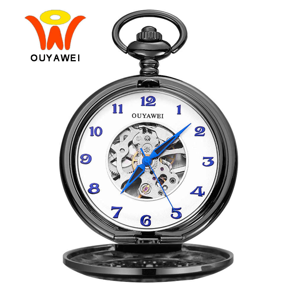 Ouyawei Black Skeleton Mechanical Pocket Watches With Chain Men Retro Mechanical Hand Wind Clock Necklace Pocket & Fob Watches